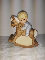 1984 Gorham Musical Figurine Boy On A Rocking Horse, Plays It's A Small World