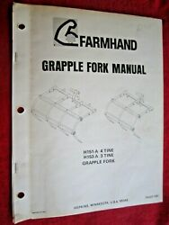 Farmhand 4-tine H151-a And 3-tine H153-a Grapple Fork Assembly And Parts Manual