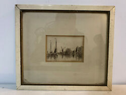Antique Etching Print Coastal Seascape Scene W/ Boats Windmill Water Houses