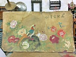 Old Vintage Japanese Beautiful Flower Bird Unique Paper Board Sign. Painting ,