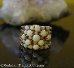 14k Yellow Gold 5 Multi Band Wide Stacking Harem Ring White Milk Opal Size 6.25