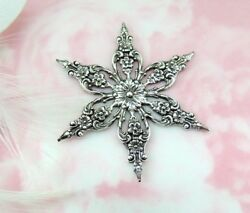 Antique Silver 2 Pieces Victorian Filigree Snowflake Stamping Finding A63
