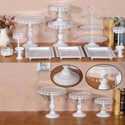 12x Decor Glass White Top Cake Stand Round Metal Wedding Party Cupcake Tower t