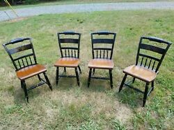 L. Hitchcock Dining Room Kitchen 4 Chairs Antique 1832 - 1843 Americana Rare