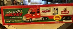 Nib Coca-cola 2004 Mickey Mouse 75th Yr Tour Carrier Truck With Mickey Statue