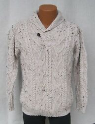 Vintage Inis Crafts Menandrsquos 100 Wool Fisherman Sweater Ireland Heavy Knit Size S