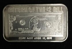 Return Of The 2 Bill Isic- 999 Silver 1 Troy Oz Art Bar Very Rare Find