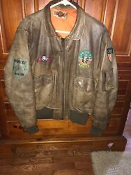 Vintage Leather Army Bomber  Motorcycle Jacket With Original Patches Size L