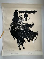 Large 1975 Danny Pierce Woodblock Woodcut Print Cutting Out The Heard Nw Artist
