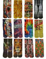 Fun Crazy Mid Crew Socks Mens Womens Adult Kid Youth Fits Sizes 5-12  60 Designs
