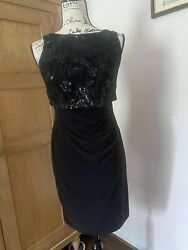 Nwt Black Sequin Beaded Bloomingdales Sleeveless Party Dress 4 P