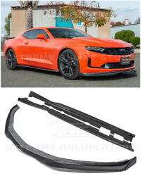 T6 Style Carbon Fiber Front Lip Side Cap And Side Skirts For 16-up Camaro Rs And Ss