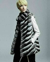 Chinchilla Fur Vest Hip Length Diagonal Sewing Stand Up Collar Made In Europe