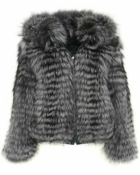 Mens Reversible Fox And Leather Fur Bomber Jacket Hooded