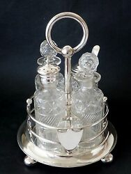 ANTIQUE SILVERPLATE cut glass CRUET SET 4 bottle Walker & Hall wedding gift VGC