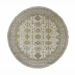 10and039x10and039 Round Ivory Pure Wool Geometric Design Hand Knotted Tribal Rug G47871