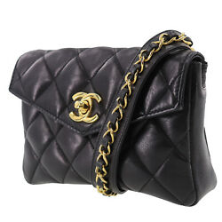 Matelasse Quilted Bum Bag Black Lambskin Leather Vintage Authentic Ab206