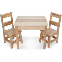 Melissa & Doug Solid Wood Kids Table and 2 Chairs Set Multiple Colors