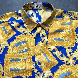 V2 By Versace Blue And Gold Silk Shirt Baroque Frames Print Size Iv/l From 1995