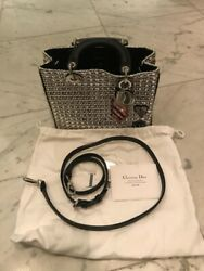 $6700 New Limited AUTH CHRISTIAN DIOR LADY Crystal Leather LARGE BAG