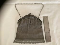 Atg Art Nouveau Sterling Silver Mesh Purse With Fabric Lining -half Moon Closure