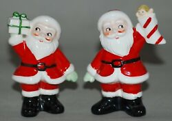 Vintage Christmas Decoration Pair Of Salt And Pepper Shakers Santa Bearing Gifts
