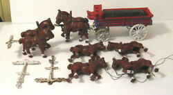 Vintage Budweiser Wagon And Clydesdale Horses - Nice Condition