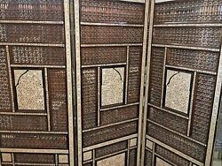 Antique Wood Room Divider Screen Inlaid Mother Of Pearl With Hand Work Arabesque