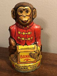 """Vintage J Chein Tin Mechanical Toy Monkey 🐒 Bank 5"""" Parts Cool Nice Graphics"""