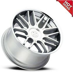4ea 22 Staggered Blaque Diamond Wheels Bd-27 Silver Machined With Chrome S12