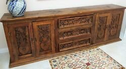 Authentic Antique Large Sideboard - Buffet Mexican Furniture Hand Carved 120 L