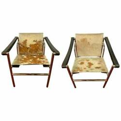 Midcentury Le Corbusier Style Chrome Leather Strap Armchairs A Pair 429-101