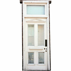 Antique Painted Wood And Beveled Glass Single Door Frame And Transom C. 1900