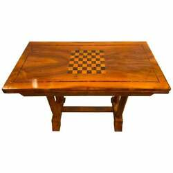 Rare Biedermeier Flip over Game Board Table Movable Top Opens Card Table 433-11