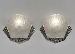 J.gauthier Ejg Pair Of 1930 French Art Deco Wall Sconces ......... Lights Lamp