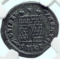 Constantine I The Great Authentic Ancient 324ad Roman Coin Camp Gate Ngc I81919
