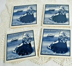4 Holland America Line Rotterdam Ny Delft Tiles W/ Cork Girl By Sea 4 X 4 Exc