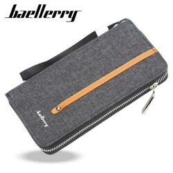 Baellerry S1523 New Patchwork Canvas Portable Clutch Wallet for Men $11.99