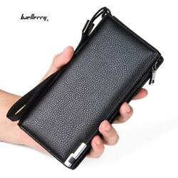 Metal Clip Embellishment Vertical Long Portable Clutch Wallet for Men $12.99