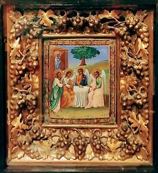 Antique Rare 1890s Hand Painted Russian Icon Of The Trinity With Large Kiot