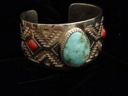 Navajo Michael Perry Turquoise, Coral And Overlay Tufa Cast St. Silver Bracelet