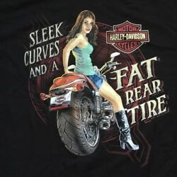 Harley Davidson Fat Rear Tire Pin Up Girl black Shirt Nwt Men's XL