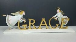 Rare Dept 56 Krinkles Patience Brewster Grace Christmas Word Sign Gold Angels