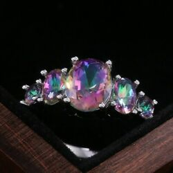 Gorgeous 925 Silver Women Rings Oval Cut Mystic Topaz Wedding Ring Size 6 10 $6.28