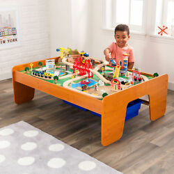 Kids Train Children Play Set Gift 100 Pieces Track Table Set Wood Toy Railway