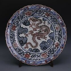 Chinese Old Underglaze Blue And Red Dragon Pattern Porcelain Plate