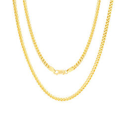14k Yellow Gold Solid Men 3.5mm Round Franco Square Wheat Box Chain Necklace 28