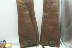 Antique Leather Military Infantry Wwi Shin Guards Leggings