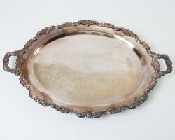 Large Antique Poole Silver Co Tray Lancaster Rose Oval Silverplate Platter 30