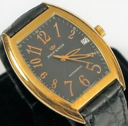 Vintage Philip Watch 18k Solid Yellow Gold Menand039s Panama Automatic Skeleton Back